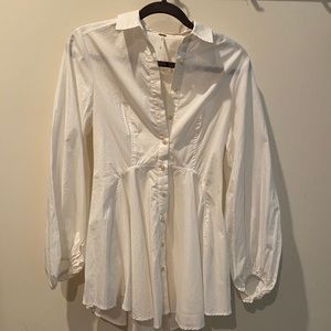 FREE PEOPLE White Button-Down Blouse NWOT